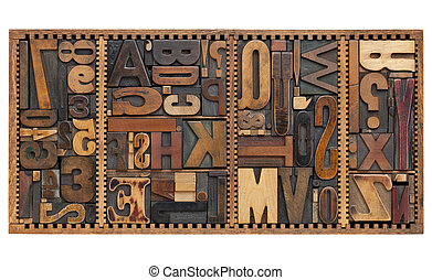 vintage letters, numbers and punctuation signs - vintage...