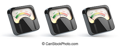 Vintage level indicators, rating customer satisfaction meters with different levels from red to green.
