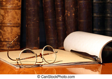 Vintage Library - Vintage still life with old spectacles,...