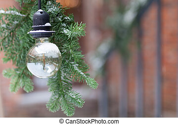 vintage light bulb decorative on street, select focus