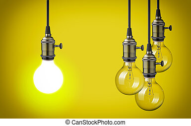 vintage light bulbs on yellow background