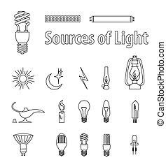 Vintage Light Bulbs. Vector Illustration. Source of Light.