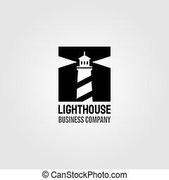 vintage lighthouse negative space square logo design illustration