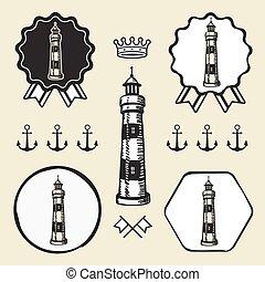 vintage lighthouse symbol emblem label collection