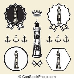 vintage lighthouse symbol emblem label collection