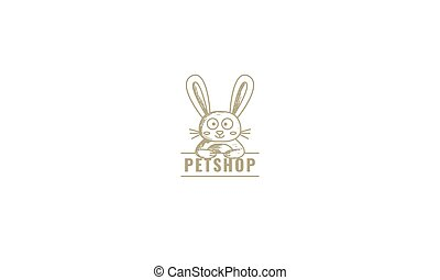 vintage line rabbit or bunny with banner cute cartoon logo icon illustration vector