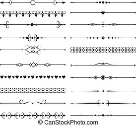Vintage lines borders with ornate elements. Ornamental dividers vector set