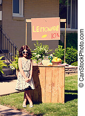 vintage little girl lemonade