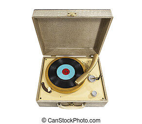 Vintage Little REcord Player isolated - Vintage small record...