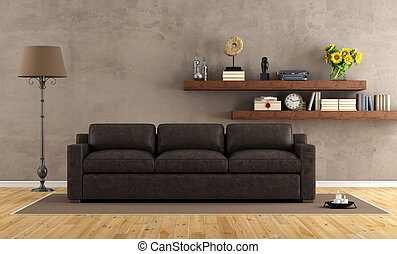 vintage living room with leather sofa - retro living room...