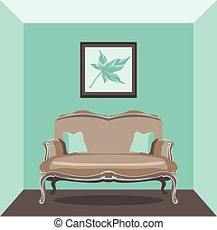 Vintage living room with sofa