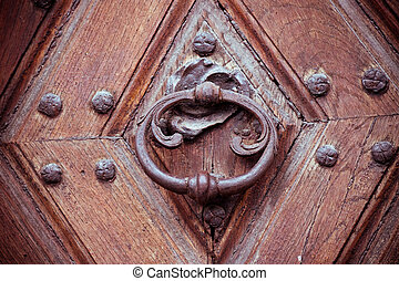 Vintage lock on old wooden door