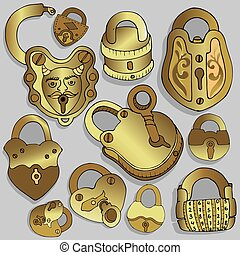 Vintage Locks. Open and closed padlock. Secret or mystery.