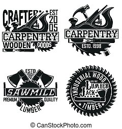 vintage logo design - Set of Vintage woodworking logo ...