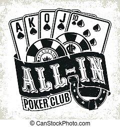 Vintage casino logo design, grange print stamp, creative poker typography emblem, Vector