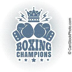 vintage logo for boxing - Vector vintage logo for boxing...
