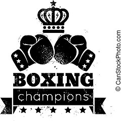 boxing - Vintage logo for boxing with gloves and crown