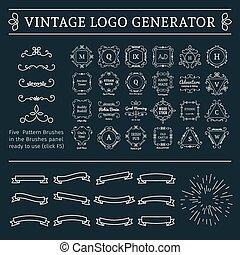 Vintage Logo Generator - Vintage logo generator. Vector set...