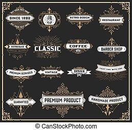 Vintage logo set for Hotel, Restaurant or Business Identity set. Design with Flourishes Elegant Design Elements. Royalty. Vector Illustration