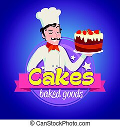 Vintage logo. Smiling italian man in a cook cap with cake.