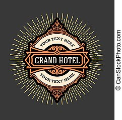 vintage logo template, Hotel, Resta