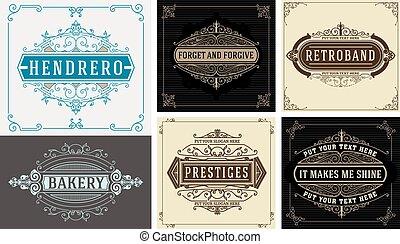 Vintage logo templates. Flourishes Elegant Design Elements. Vector layered