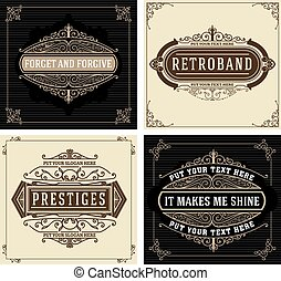 Vintage logo templates with Flourishes Elegant Design Elements