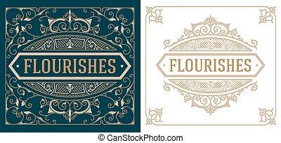 Vintage logo templates with Flourishes Elegant Design Elements