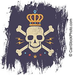 black skull and crown