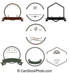 Vintage Logos Design Templates Set. Empty Logotypes Collection, Icons Symbols, Retro Labels, Badges Vector.