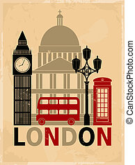 Retro style poster with London symbols and landmarks.