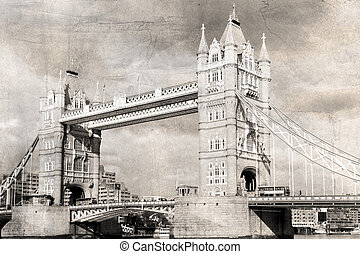 Vintage London - Tower Bridge, black and white, vintage...