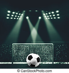 Vintage look sport backgrounds with soccer gate and ball