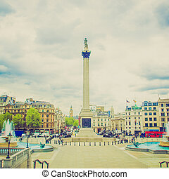 Vintage look Trafalgar Square, London - Vintage looking View...