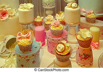 Vintage look with cakes prepared for an festive event