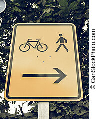 Vintage looking Bike lane sign