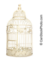 Vintage looking bird cage isolated studio cutout