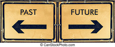 Vintage looking Direction arrow sign, back arrow meaning past, forward arrow meaning future, black over yellow background