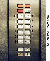 Vintage looking Lift keypad detail