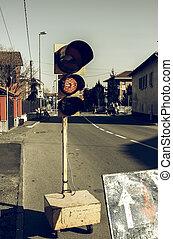 Vintage looking Road works