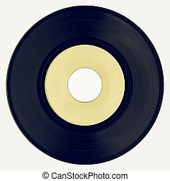 Vintage looking Vinyl record with yellow label