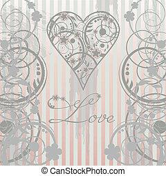 Vintage Love card, vector