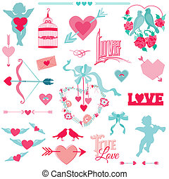 Vintage Love Elements - for Wedding and Valentine's Day - in vector