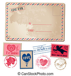 Vintage Love Valentine Postcard and Stamps - for design, invitation, scrapbook - in vector