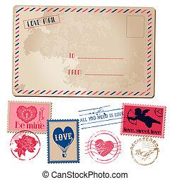Vintage Love Valentine Postcard and Stamps - for design, invitation, scrapbook - in vector