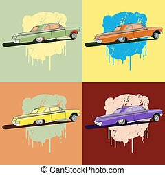 Vintage low rider logo, badge, sign, emblems, sticers and elements design. Pop art classic and retro old car