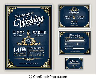 Vintage luxurious wedding invitation on chalkboard...