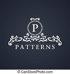 Vintage luxury emblem. Elegant Calligraphic vector logo -...