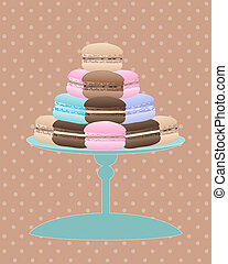 vintage macaroon - an illustration of a cake stand with...