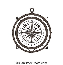 Vintage magnetic compass hand drawn with outlines on white background. Touristic instrument for navigation, orientation, destination finding, tourism and adventure travel. Vector illustration.